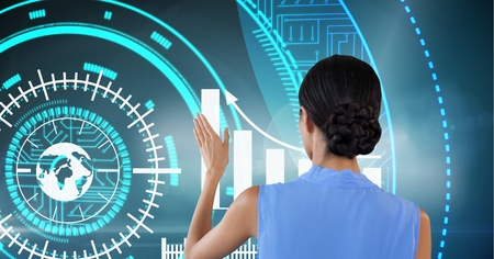 Digital composite of Woman touches graph interface on wall Banque d'images - 96703544