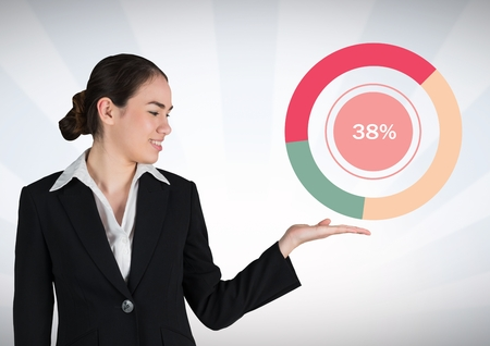Digital composite of Businesswoman hand open with colorful chart statistics