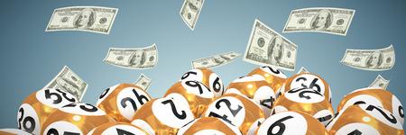 Loterijballen met nimbers tegen abstracte grijze achtergrond
