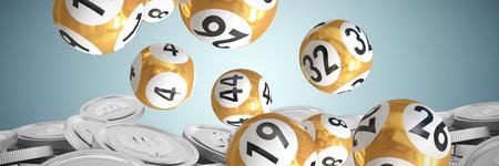 Loterijballen met getallen tegen bitcoins