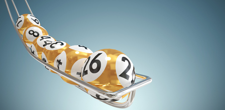 Ballen van de loterij tegen abstracte grijze achtergrond