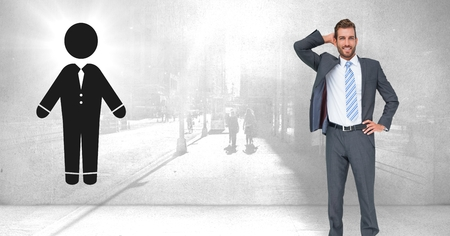 Digital composite of Businessman with person icon and city wall