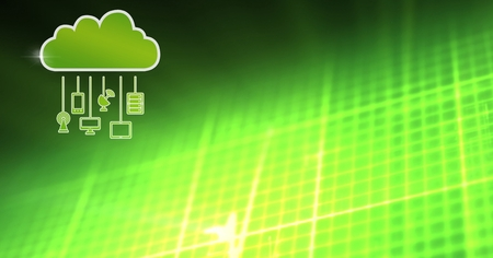 Digital composite of cloud icon and hanging connection devices with green matrix background