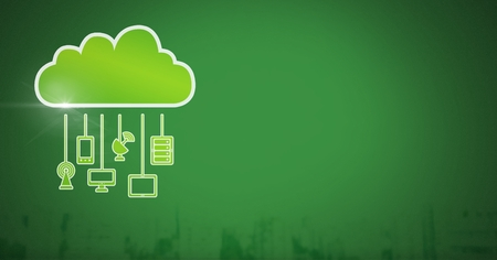 Digital composite of cloud icon and hanging connection devices with green background Stock Photo