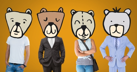 Digital composite of People with bear animal head faces