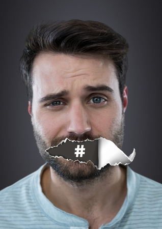 Digital composite of Hashtag icon and Man with torn paper on mouth