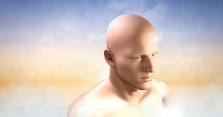 Digital composite of mans head in clouds