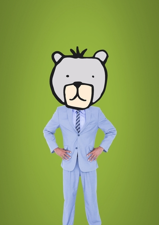 Digital composite of Man with bear animal head face