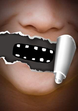 Digital composite of Face with torn paper on mouth and cartoon mouth