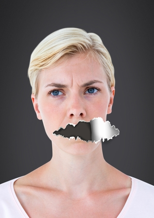 Digital composite of Woman with torn paper on mouth