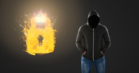 Digital composite of Dark Man with no face and burning flame lock glowing