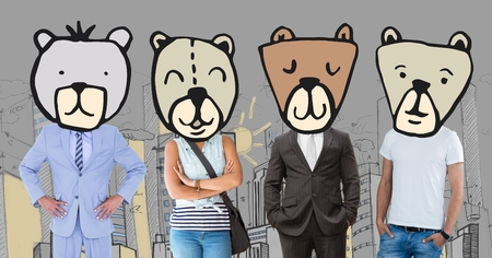 Digital composite of People with bear animal head faces in city Banco de Imagens