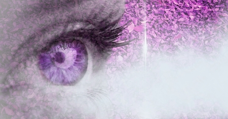 Digital composite of Purple eye transition with leaves and cloud
