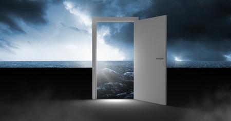 Digital composite of Open door with surreal dark sea glow and sky