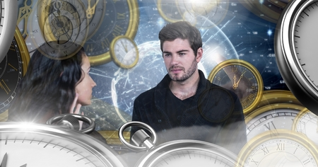 Digital composite of Couple in surreal time and space with clocks