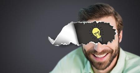 目に破れた紙と電球の描画を持つ男のデジタルコンポジット 写真素材 - 96791961