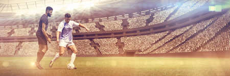 Football Duel  against view of a stadium Archivio Fotografico