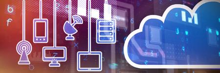 Cloud against virus background Stock Photo