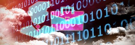 Work against clouds around binary codes Stock Photo