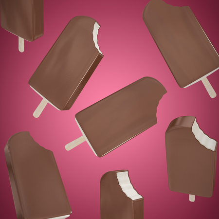 Chocolate ice-cream against abstract maroon background