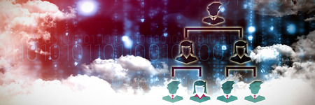 Organisation against clouds over binary coded screen Stock Photo