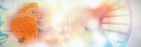Illustrative image of a blue colored heart against medical background with blue ecg line