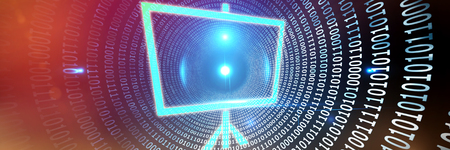 Board against spiral of shiny binary code Stock Photo