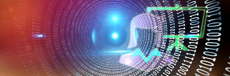 Presentation against spiral of shiny binary code Stock Photo