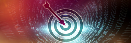 Target against spiral of shiny binary code Stock Photo
