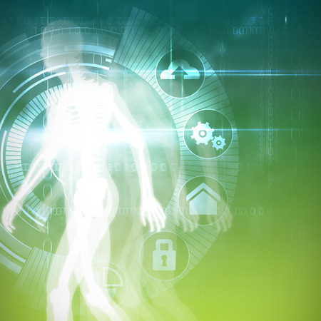 Digital Skeleton against black technology interface with glow Stock Photo