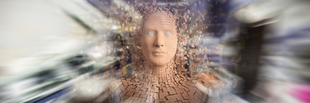 Digital image of brown pixelated 3d man against electronic circuit board with processor