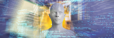 Digital image of gray 3d woman against close-up of mother board