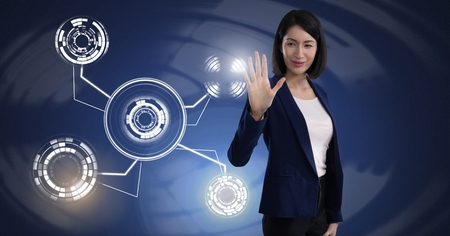 Digital composite of woman touching circle interface