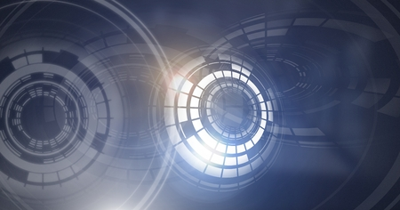 Digital composite of Glowing circle technology interface