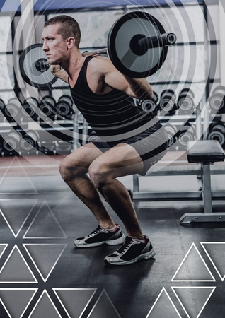 Digital composite of athletic fit man lifting weights in gym with interface