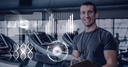 Digital composite of athletic fit trainer man in gym with health interface