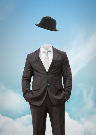 Digital composite of Headless man with surreal floating hat in front of sky
