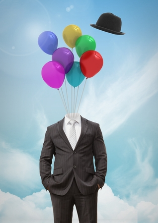 Digital composite of Headless man with surreal floating hat and balloons in front of sky