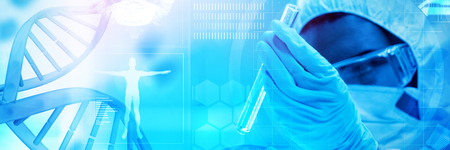 Blue dna helix with medical background against protected scientist looking at a dangerous liquid in test tubes Stock Photo