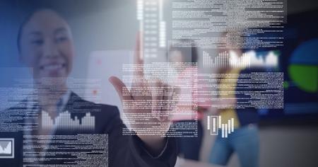 Digital composite of Businesswoman touching screen text interface Standard-Bild