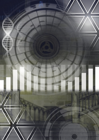 Digital composite of Science and architecture technology interface merged transition