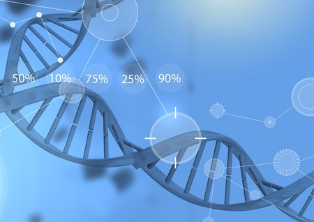 Digital composite of Interface overlay of connection statistics graphics with medical science DNA genetics background