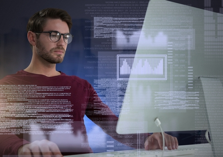 Digital composite of Businessman working on laptop with screen text interface