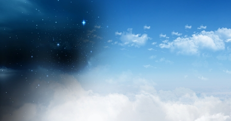 Digital composite of Day and night cloudy sky contrast transition Stock Photo