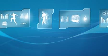 Digital composite of Human health and fitness interface and blue background