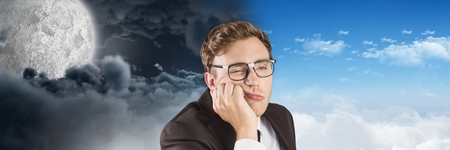 Digital composite of Tired man and Day and night moon cloudy sky contrast transition