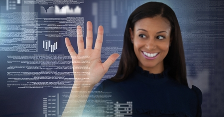 Digital composite of Businesswoman touching screen text interface Stock Photo
