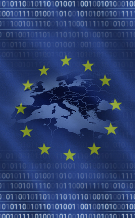 European union flag with binary codes, Close-up