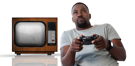 Man playing video game against white background against retro tv