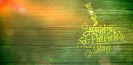 patricks day greeting against overhead of wooden planks Stock Photo
